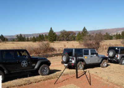 Jeeps at the start of trail
